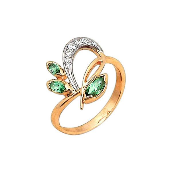 c49aadcac73d Кольцо из золота 585 пробы с бриллиантами и хризолитом 28500363 ...