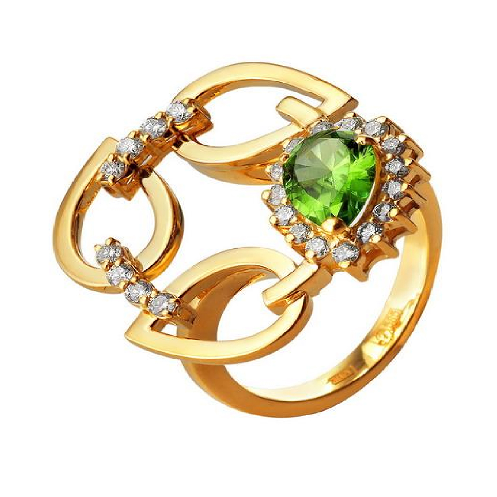 4a8f59c2b148 Кольцо из золота 750 пробы с бриллиантами и хризолитом 38500131 ...