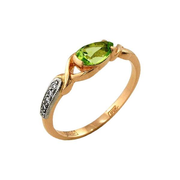 9bb629600192 Кольцо из золота 585 пробы с бриллиантами и хризолитом 28500543 ...